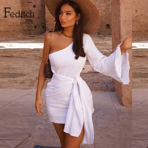 Повседневные платья FEDICH 2021 Летние Женщины Мода Один плечо Сексуальный Клуб Длинные Рукава Мини Платье Vestidos Халаты Женщина