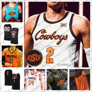 Customzied NCAA Baloncesto del Estado de Oklahoma OSU 2020 # 2 Cade Cunningham 13 de New Yor Isaac Likekele 14 Anei 22 Kalib Boone Hombres Jóvenes 4XL