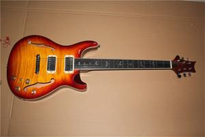 ücretsiz kargo özel PR alevli akçaağaç kaplama, yarı boş gitarla elektro gitar Sunburst, kuş kabuk kakma Fretboard Gülağacı