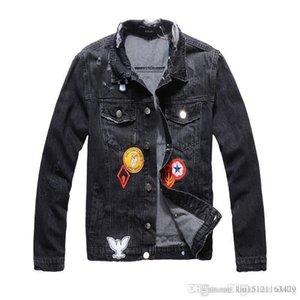 2020 New Mens Designer Jackets Embroidered Denim Jacket Shirt Slim Casual Streetwear Vintage Ripper Black Jeans Tops Size M-4XL