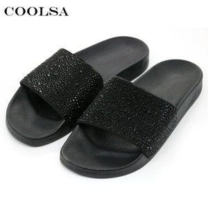 COOLSA Hot Summer Women Slippers Rhinestone Bling Slides Flat Soft Home Flip Flops Female Sparkling Crystal Shoes Beach Sandals Y200706