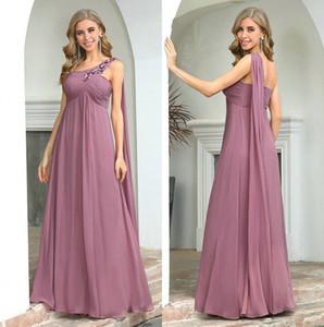 Dusty Pink Bridesmaid Kleider für Frauen für Hochzeiten Haupt recht elegant eine Linie Appliques Chiffon Hochzeit Kleid