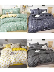 Double-sided Bed Cover Simple Style Bedding Cover Quilt Pillowcase Bed Sheet Set Of 4