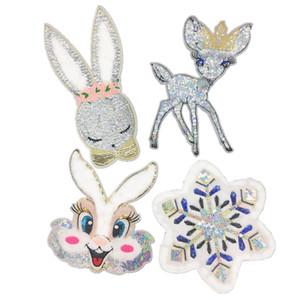 10 peças Lantejoula manchas pano coelho lã floco de neve bordados bordados acessórios roupas decoração capítulo bordado patches de DIY