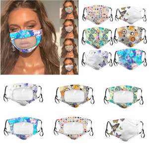 Tasarımcı Maskesi Erkekler Kadınlar Baskılı Nefes toz geçirmez Yıkanabilir Pamuk Nefes Çiçek Temizle Plastik Patchwork Kumaş Maskeler Maske HH9-3148