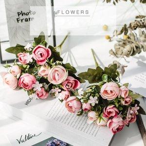 BalleenShiny 1 комплект шелковых роз Невесты букет для Рождества дома свадьбы нового года украшение искусственных растений искусственных цветов