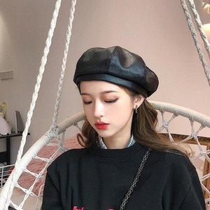Net Red Celebrity Inspired PU Leather Hat Pumpkin Hat Female Japanese Autumn and Winter Octagonal Hat Korean Style Painter British Beret