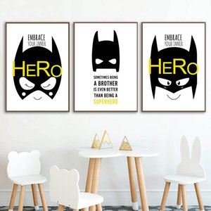 Batman Nursery Quotes Wall Art Child Poster Black White Print Canvas Painting Nordic Kids Decoration Picture Baby Bedroom Decoration 3