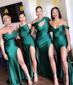 2020 сексуальная бирюзовая зеленая сторона сплит невесты платья длинные горничные чести платье русалка свадьба гостевая вечернее платье