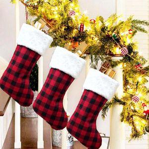 Red Plaid Christmas Stocking Christmas Tree Ornament Decorations Santa Claus Stockings Candy Socks Bags Xmas Gifts Bag ZZA2460 30Pcs