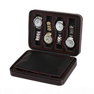 8 Slot portátil preto Carbon Fiber PU Leather Relógio de luxo Zipper saco de armazenamento de viagem Jewlery Watch Box Bag Presente personalizado
