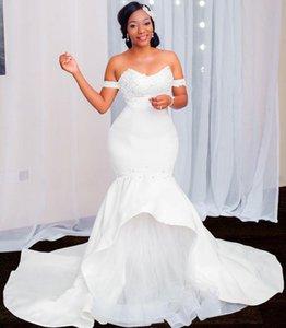 New White Satin Mermaid Beach Wedding Dresses Vestidos de noche Princess Wedding Gowns Beaded Plus size Bridal Gowns