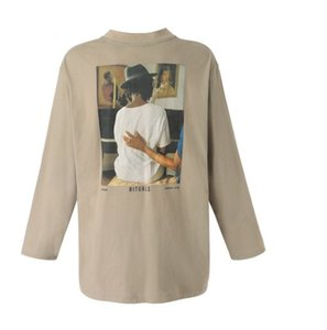 venta caliente Retrato 20SS FG Vintage impresión de manga larga camiseta de cuello redondo Hombres Mujeres Calle suéter hoodies del suéter de deportes al aire libre