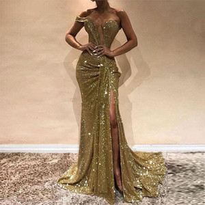 2020 Sexy Gold Sequins Mermaid Evening Dresses Sweetheart Split Side Floor Length Sparkly Prom Dresses Formal Gowns Sweep Train