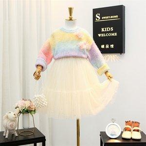 Tatlı kızlar prenses 2020 + pullar bluzlar 2adet setleri tül stereo çiçekler gökkuşağı örgü kazak üstleri yeni çocukları düşmek kıyafetler A3714