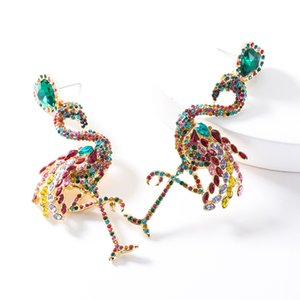 Exaggerated acrylic diamond-studded Flamingo earrings fashionable women fashion personalized animal earrings