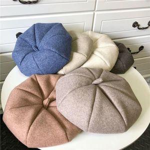 Net Red Woolen Beret Female Autumn and Winter Octagonal Hat Ins British Warm Painter Hat Korean Japanese Style All-match Tide