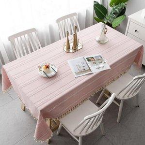Lavabile Cotone Lino Stitching nappa rettangolare Tovaglia Table Cover Grande per pranzo cucina tavolo buffet Decoration DHF247