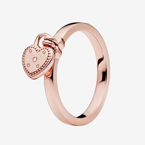 Rose gold plated Love Hearts Pendant Wedding RING with Original box for Pandora Real 925 Silver Heart Shaped Padlock Ring