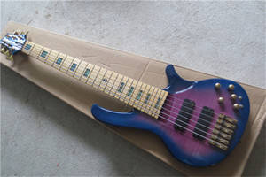 Ücretsiz kargo Deoliver 6 dizeleri bas gitar, kül ahşap vücut, alevli akçaağaç kaplama, 19 mm akor mesafe, mavi orijinal bas, renk kabukları kakma