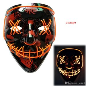 Halloween Mask LED Light Up Party Masks The Purge Election Year Great Funny Masks Festival Cosplay Costume Supplies Glow In Dark DHL Free