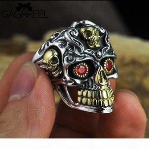 GAGAFEEL Vintage Raffreddare monili aperto anelli del cranio reale di 100% 925 anelli d'argento tailandesi di fascini di modo delle donne degli uomini Drop Ship D19011502