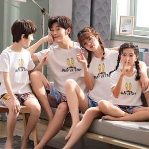 Parent-child pajamas pajamas short-sleeved cotton of three summer family matching light a family of four pajama set
