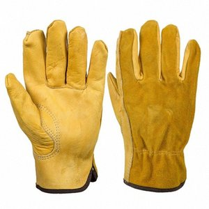 Echter Leder-Arbeitshandschuh Anti-Rutsch-Treiber Garten-Handschuhe für mechanische Reparatur Fahrzeug-25 JxIE #