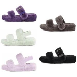 Australia pelusa oh sí zapatillas de moda de invierno zapatilla de pelusa mujeres ocasionales mullido peludo diapositivas de imitación de piel de visón sandalias EUR 36-44 lzf8 #