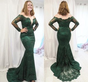 Mermaid Mother Of Bride Dresses Mermaid Evening Dresses Sexy Off Shoulder Long Sleeves Sweep Train Applique Mother Dress Prom Party Gowns