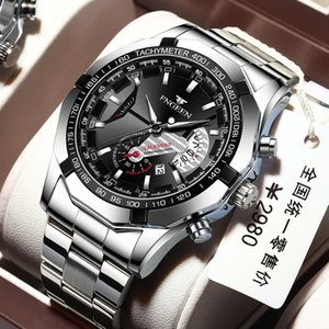 Watch Mens Korean-Style Fashion Large Dial Mens Watch Waterproof Luminous Band Calendar Business Mens Quartz Watch Non-Mechanical