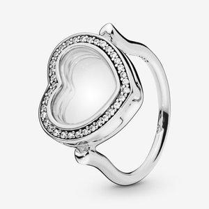 ALE autêntica prata esterlina 925 Medalhões anel de brilhantes Coração Designer de luxo de jóias anéis de noivado para as mulheres com logotipo e Pandora Box