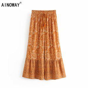 Vintage chic women floral print wide leg Bohemian pants ladies loose ruffles sashes rayon Boho long pants