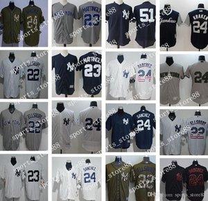 사용자 정의 남성 여성 청소년 뉴욕 양키스 유니폼 # 22 자코비 엘스 버리 (23) 돈 매팅리 (51 개) 버니 윌리엄스 흰색 야구 유니폼