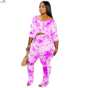 Women Tie Dye Print Two Piece Set Off Shoulder Crop Tops Stacked Bell Bottom Flare Jogger Suit Tracksuits Clubwear Matching Sets