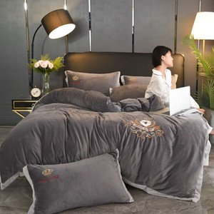 Senior Ash Beddings Cover Letter Printing Home Bedding Cover New Luxcy Soft Cotton Bedding Suit Modern Style Family Bedding Supplies