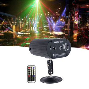 LED Mini Stage Light Laser Voice Control Projector Mixed Red & Green Lighting For Lights Xmas Club Party Bar Pub Club Music DJ
