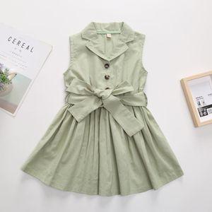 Kids lapel single-breasted dress fashion new girls cotton vest pleated dress preppy style children casual dress