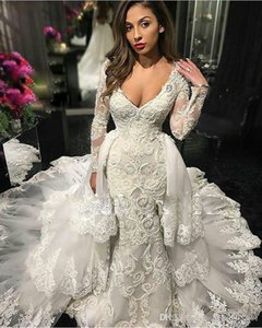 Glamorous Mermaid Lace Wedding Dresses with Detachable Skirts Deep V-Neck Illusion Long Sleeve Ruffled Cort train Modern Bridal Gowns