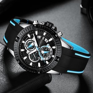 MINI FOCUS Quartz Watches for Men Silicone Strap Army Sports Chronograph Wrist Watch for Man Clock Relogios Masculino 0244G0.3 T200723