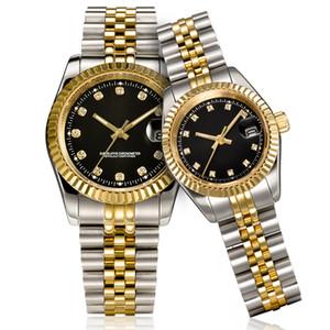 donne degli uomini orologio d'oro automatico vestono in acciaio inox completa Zaffiro Impermeabile Coppie luminose Stile Classico polso U1 orologio