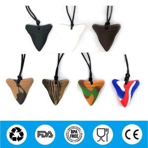 Shark Tooth Chew Necklace for Kids, FDA Approved Silicone Oral Sensory Chewy Teether Pendant Chewelry for Teething, Autism,