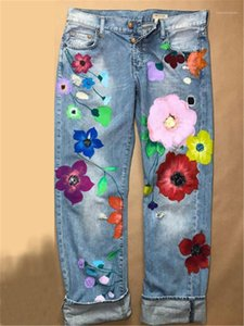 Casual Denim Streetwear Fashion Female Clothes Flowers Women Jeans Plus Size Colorful Straight Slim Ladies Jeans