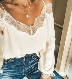 New Women Sexy Off Shoulder Long Loose Sleeves Ruffle Lace Blouse Shirt Ladies Backless Solid Color Casual Blouse Tops Summer