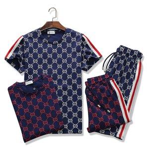 Abbigliamento Uomo modo fissa manica corta in stampa Tute 2 PCS Mens Estate Casual Wear Abito firmato Set