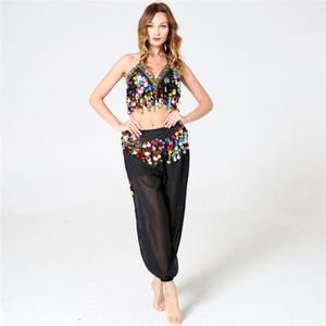 Para mujer del vientre de la India Tanques traje de la danza halter de las mujeres atractivas del vendaje de la lentejuela de la borla de tuberías Etapa Bra Tops