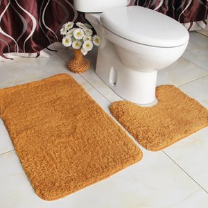 Lint bathroom Carpet set rug Household Toilet seat Bathtub Water Uptake Non-slip Closestool Land Pad Lamb Down non slip bath mat T200624