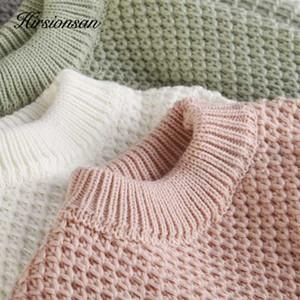Hirsionsan Thicken Cortar Camisolas Mulheres 2020 Outono Inverno coreano doce malha capuz macio morno sólidos tops de cashmere fêmeas