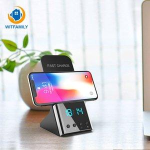 Wireless Quick Phone Charger For Smart Bedside Night Ligh Desktop Digital LED Alarm Clock Charging Standard Clock Living Room