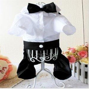 Sling Suit Dogs Clothes Four-Legged Suit Pants Tie Tie Pet Supplies Simple Generous Black And White Cloth Button 15hjC1